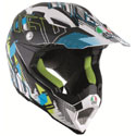 AGV AX-8 Evo Offroad Motorcycle Helmet Nofoot Matte White/Cyan