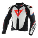 Dainese Super Speed D1 Leather Motorcycle Jacket White/Black/Red