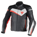 Dainese Veloster Leather Motorcycle Jacket Black/White/Fluo Red