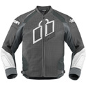 Icon Hypersport Prime Leather Motorcycle Jacket Grey Size Large