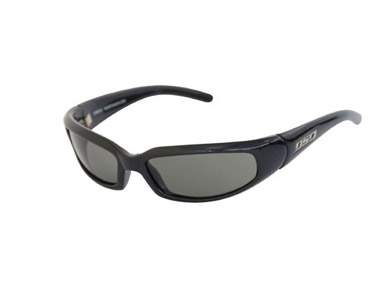DSO Sunglasses Stretch Shiny Black Frame Smoke Polarized Lens